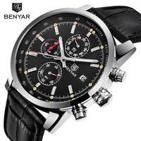 BENYAR Quartz Date Army Wrist Watch Mens Sport 3ATM Waterproof Genuine Leather