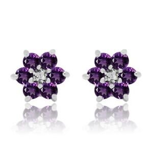 0.52 Ct Amethyst & Diamond 18K Yellow Gold Over Sterling Silver Stud Earrings