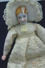 "Vntg Ornament Doll Porcelain Face Hanging Lace Dress Cream 10"" Tall Handmade"