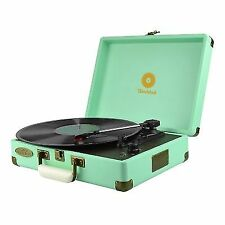 mbeat MBTR89 Woodstock Retro Turntable - Tiffany Blue