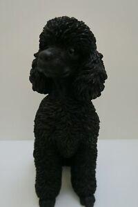 BLACK POODLE SITTING DOG ANIMAL GARDEN STATUE ORNAMENT FIGURINE MEMORIAL