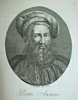 Stampa d'epoca - PIETRO ARETINO incisore P.Caronni 1840 old print