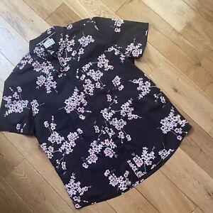 George Black Pink Floral Hawaiian Aloha Shirt Large Cotton Chest 42-44