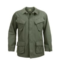 OD Green Vintage Military Rip-Stop Vietnam Era BDU Fatigue Shirt Free Shipping