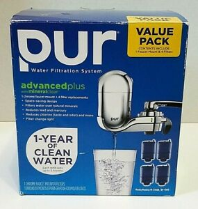 PUR Faucet 3 Stage Water Filtration System Chrome FM-3700B & 4 Brand New Filters