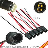 2x CASQUILLOS CONECTORES SOCKETS BOMBILLAS T10 W5W POSICION MATRICULA INTERIOR