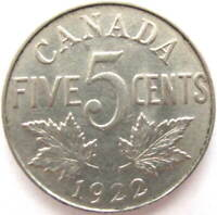 1922 - CANADA 5 CENT COIN, GEORGE V, G+ GRADE - FREE SHIPPING !!!