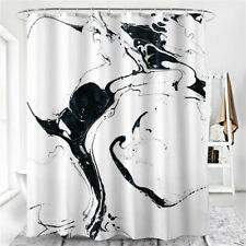 Black White Ink Digital Print Bathroom Shower Curtain Waterproof Curtain LG