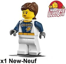 Lego - Figurine Minifig Dragster Transport Truck Driver woman cty750 60151 NEUF