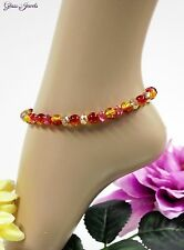 Gold Anklet Beads Summer Hippie Red Yellow 10 3/8in Glass Stone Jewellery K011