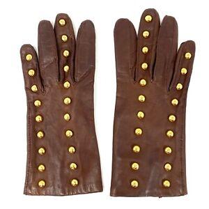 Vtg 90s Escada Margaretha Ley Dark Brown Leather Gloves w Gold Rivet Detail sz 7