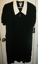 GEMINI II Short Sleeve;Zip-Front Long Black Dress, White Collar; PLUS SZ 22; NWT