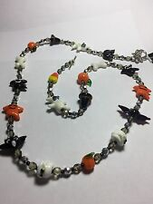 """Handmade for Women 32"""" Halloween Glass Bead Necklace with Flower Clasp"""