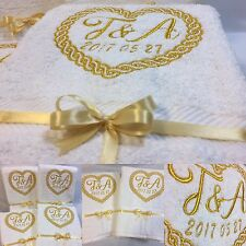 PERSONALISED Wedding Bath Towel Gift Set Luxury His Hers Love Heart Initials