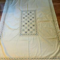"""Vintage Embroidered Cotton Tablecloth 52"""" x 68"""" Spring Linens Farmhouse"""