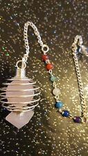 Natural Rose Quartz Cage Pendulum With 7 Chakra Stone Sphere Crystal Healing Uk