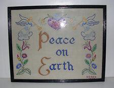 Vintage 1972 Antique Style Peace on Earth Framed Sampler Angels Heart Flowers