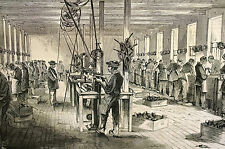 Chinese Workshop in NEW ENGLAND Factory Workers 1870 Antique Art Print Matted