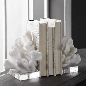 CHARBEL DESIGNER MODERN ART COASTAL BEACH SCULPTED FAUX CORAL BOOKENDS UTTERMOST