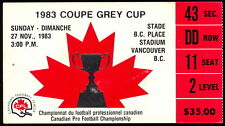 1983 CFL ticket stub 71 Grey Cup FOOTBALL B C PLACE Argonauts VS BC Lions NM