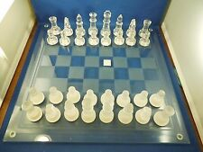 """Fifth Avenue Ltd Crystal Glass Chess Set with 32 Pieces 14"""" x 14"""" Board"""