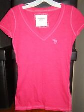 Abercrombie A&F Pink V-neck SS Tee Shirt Raspberry XS NWT was $28
