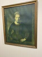 Vintage Framed Print Young Girl at an Open Half Door By Rembrant Van Rijn