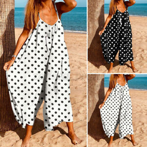 Womens Strappy Jumpsuits Pant Bohemian Beach Rompers Summer Loose Bib Playsuits