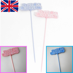 It's A Boy Girl Cake Cupcake Pick Toppers New Baby Shower Blue Pink