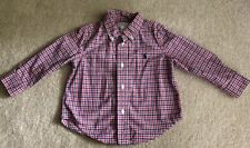 RALPH LAUREN BOY'S RED/WHITE/BLUE CHECKED LONG SLEEVE BUTTON DOWN SHIRT SIZE 18M