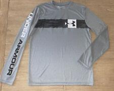 Boys Under Armour Gray LOGO Long Sleeve Shirt Large BACK TO SCHOOL Heat Gear EUC