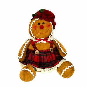 Christmas Gingerbread Man Woman Soft Teddy Plush Sit Down Weighted Decoration UK