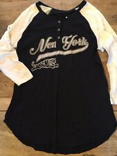 Navy/White New York  SMALL Abercrombie and Fitch RAGLAN BASEBALL T-SHIRT  NEW!