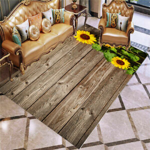 3D Sunflower Wood Grain Floor Mat Home Decor Kids Room Doormat Large Carpet Gift