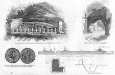 ROMANS. LINColn. Roman Hypocaust(bath furnace)et al 1845 old antique print