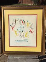 PABLO PICASSO SIGNED 1961 LITHOGRAPH RONDE DE LA JEUNESSE SCRIPT ARCHES FRAMED
