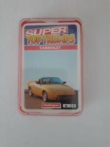 WADDINGTON SUPER TOP TRUMPS CABRIOLET IN PLASTIC CASE 32 CARDS