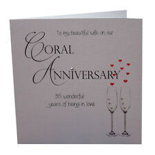 35th Coral Wedding Anniversary Card Beautiful Wife Luxury Handmade 35 Years
