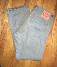 Levi's 501 XX Greenish Gray Button Fly Straight Denim Jeans Leather Tag 34 X 32