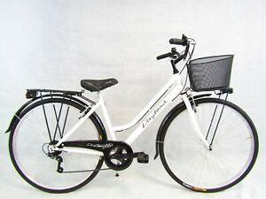 bicicletta donna bici da passeggio city bike 28 trekking cambio 6v colore bianco