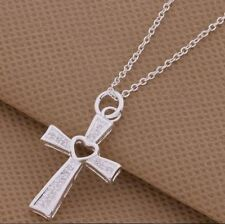 """925 Sterling Silver Cross and Heart Necklace 18"""""""