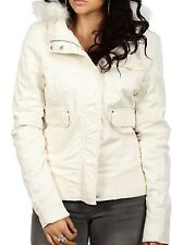 $129 Fox Racing Women's Evolve Bomber Jacket Faux Fur Hooded Bone Color Size S
