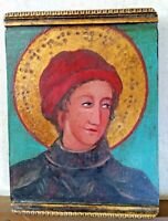 Icon Painting Religious Art Barcelona Spain Original Carved Wood Gilt /Gold Leaf
