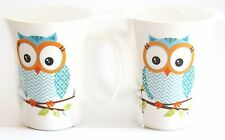 Owl Mug - Set 2 Bone China Supplied in Clear Plastic Carry Pack - Blue Chevron