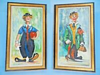 2 each  EXQUISITE W. NEWTON ORIG. ART SIGNED CLOWN PAINTING Fr. BENDANN'S ART