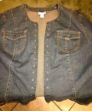 Liz & Me Plus Size 3X Denim Open Style Jacket with Silver Hole Studs