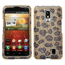 For LG Spectrum Crystal Diamond BLING Hard Case Snap On Phone Cover Leopard