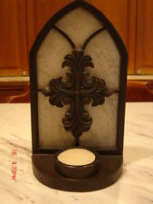 Undeniable FAITH Romanesque Tealight Holder with Cross by DEMDACO-Brown