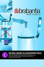 Brabantia 40 Bag Dispenser Pack Size C Type 12L 12 Litre Bin Liners Waste Bags