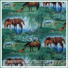 BonEful Fabric FQ Cotton Quilt Horse Scenic Farm Meadow Tree Stream Water Flower